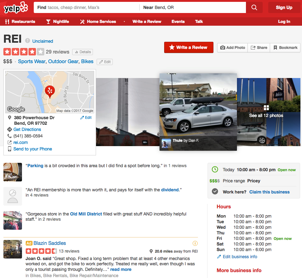 REI Yelp location example