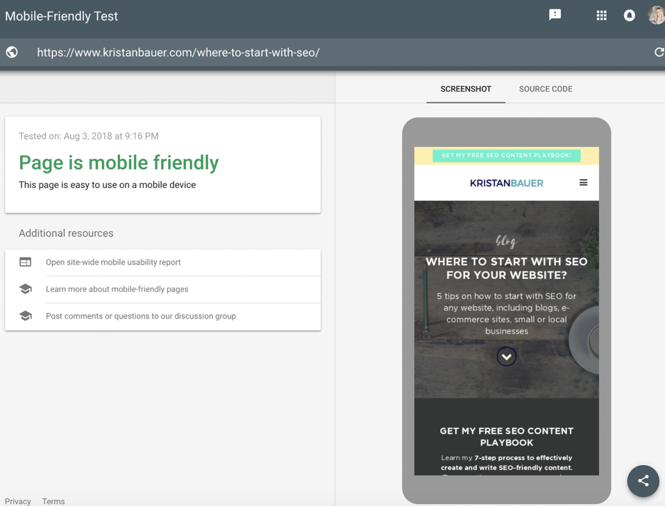 mobile check technical SEO